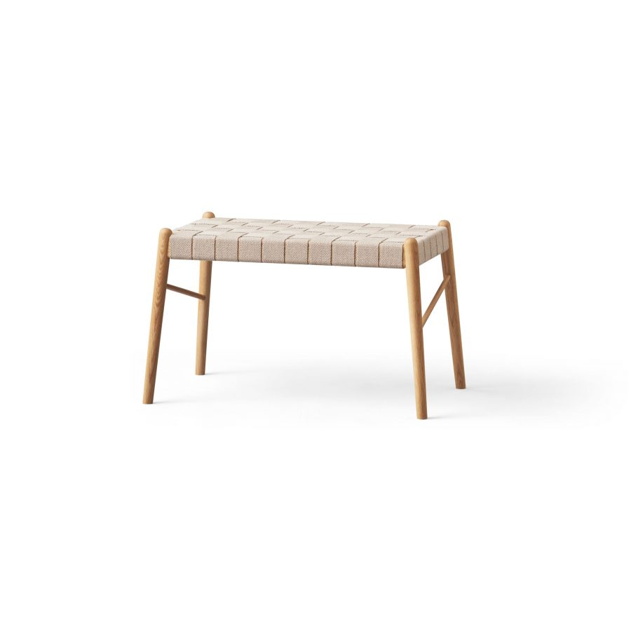 Design bench with webbing, oak