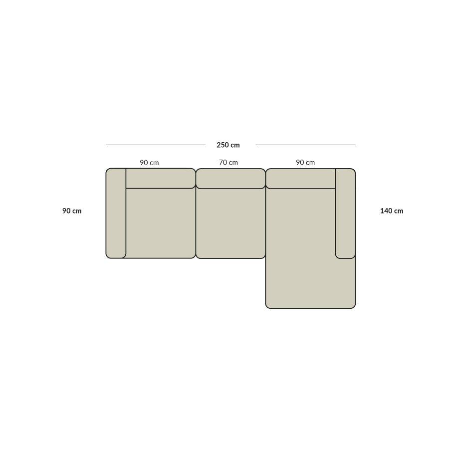 chaise lounge sofa, 3 modules