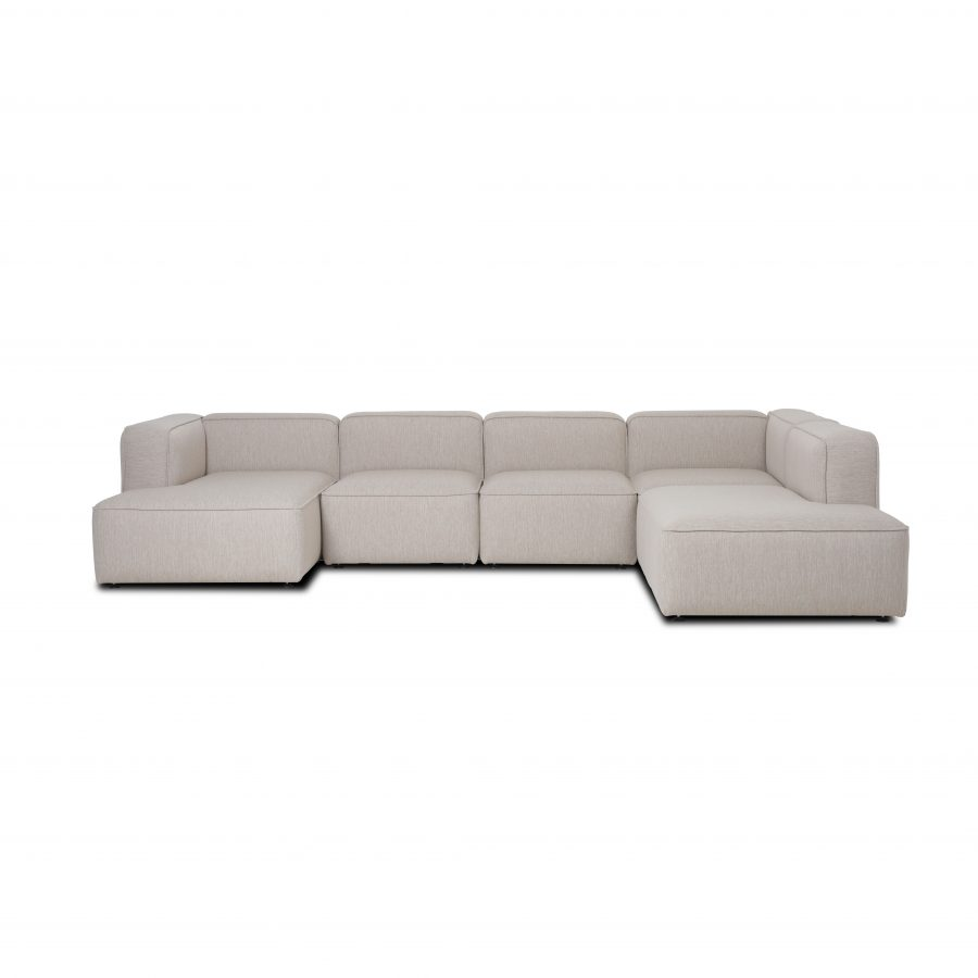 Family sofa with chaise lounge and open end