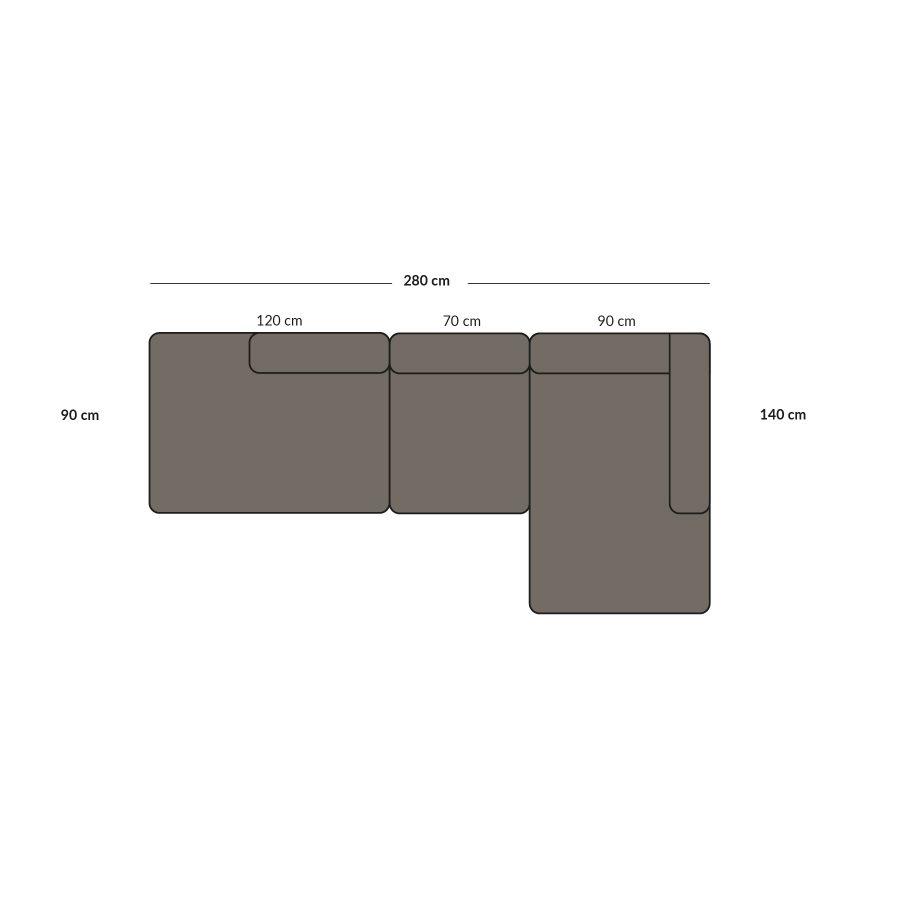open end open sofa, 3 modules