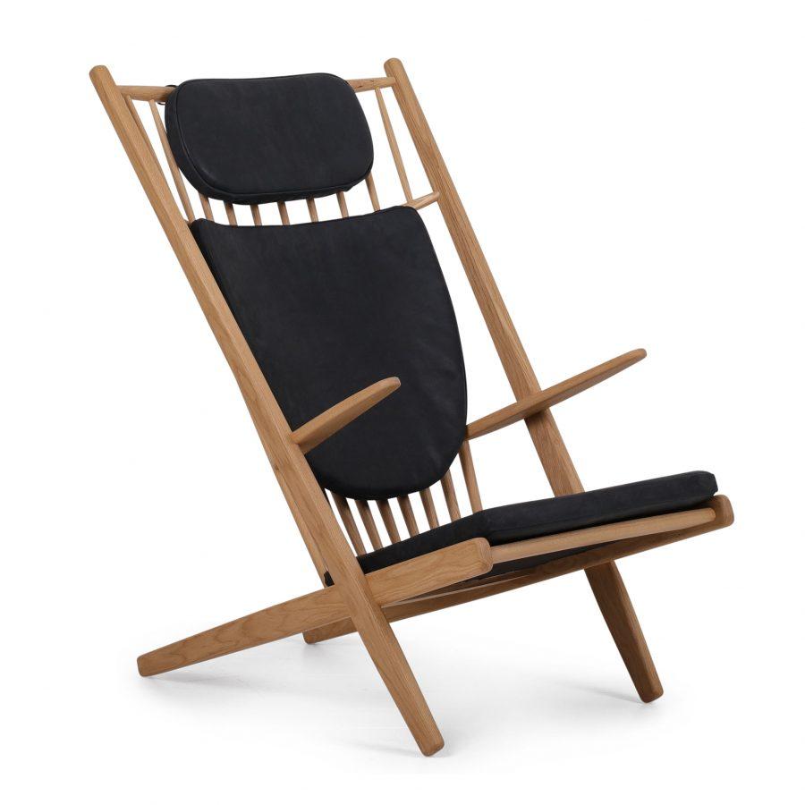 goliat armchair oak mat lacquer leather