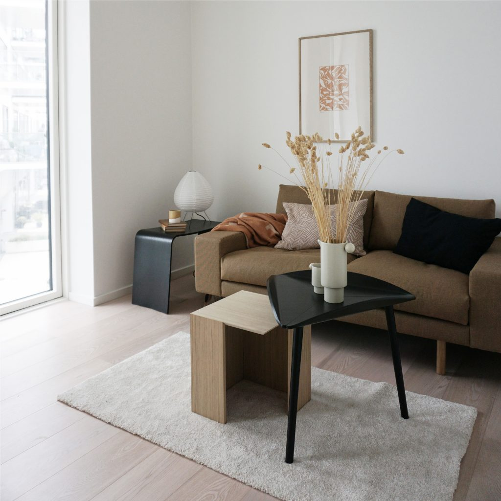 2 seater sustainable sofa with trias design table
