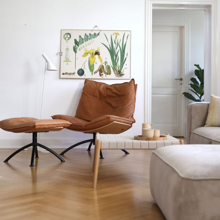 Design PRIMETIME chair in sustainable wood, leather